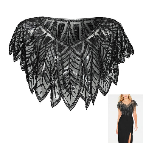 Black Shawl Cape Bolero Shrug with Beaded Armhole Vintage inspired 1920s Great Gatsby Flapper Art Deco Hand made