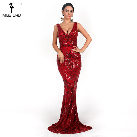 Missord 2019 Sexy Women V Neck Long Sleeveless Sequin prom Dress Retro geometry Backless Maxi Elegant Reflective Dress FT18726