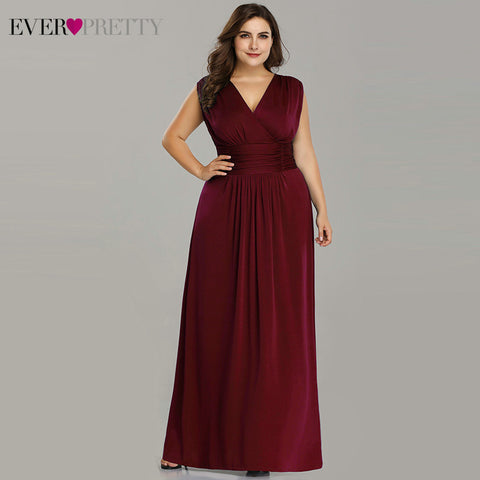 Plus Size Evening Dresses 2019 V neck A line Cheap Chiffon Sleeveless Mother of the Bride dresses Long Evening Party Gowns