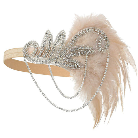 20s Headpiece Vintage 1920s Headband Flapper Great Gatsby (Champagne)
