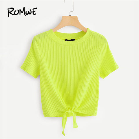 ROMWE Knot Hem Rib Knit Neon Top 2019 Summer Neon Green Women Fashion Short Sleeve Asymmetrical T shirt Female Casual Chic Tops