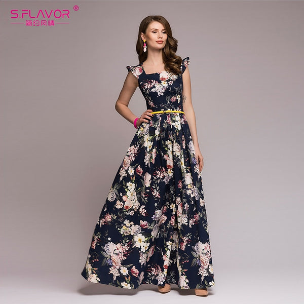 Popular sleeveless square collar sexy long dress Women Elegant autumn pleated dress