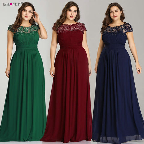 Vestidos Sirena Fiesta Long Prom Dresses Ever Pretty New Plus Size Lace Appliques  A Line Ladies Formal Wedding Party Gowns 2019