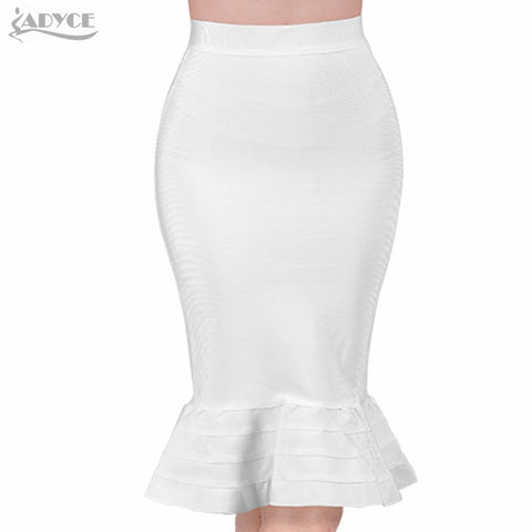 ADYCE 2019 New Summer Women Bodycon Bandage Skirts Sexy White Yellow Ruffles Celebrity Knee Length Mermaid Evening Party Skirts