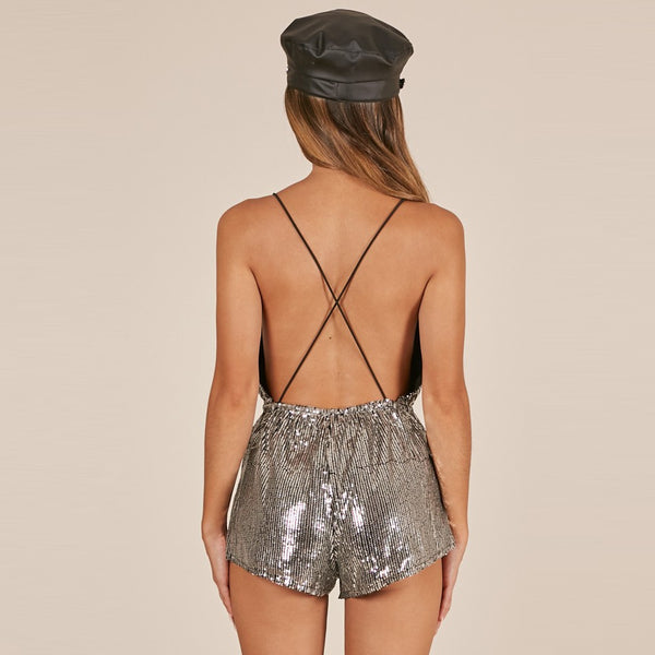 Sequin Strap Playsuit V neck Sexy Club Party Rompers