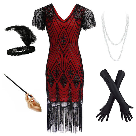 Women's Vintage 1920s Fringed Gatsby Sequin Beaded Tassels Hem Flapper Dress