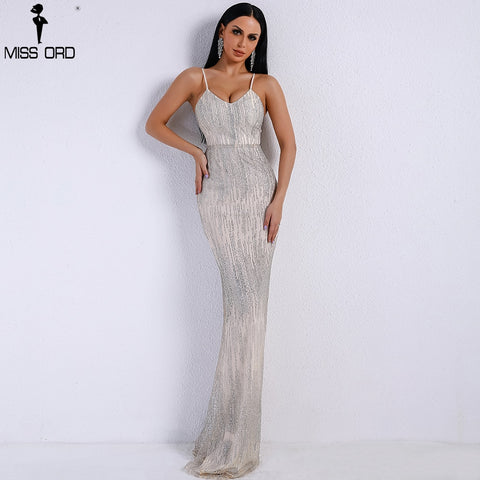 Missord 2019 Women Sexy V Neck  Off Shoulder Backless Glitter Dresses Female Elegant Party Maxi Dress FT9226