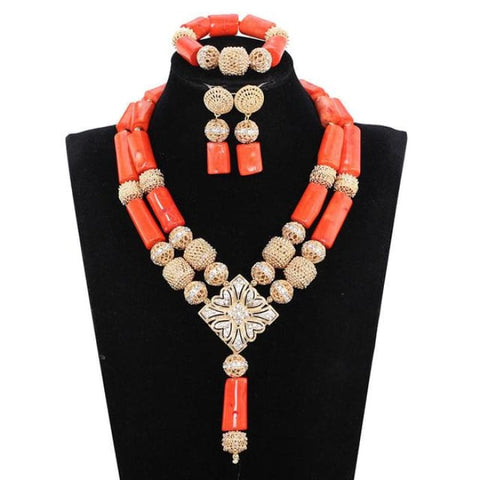 African Nigerian Wedding Coral Necklace Set Fashion Real Coral Jewelry Set 1 Jewelry Sets