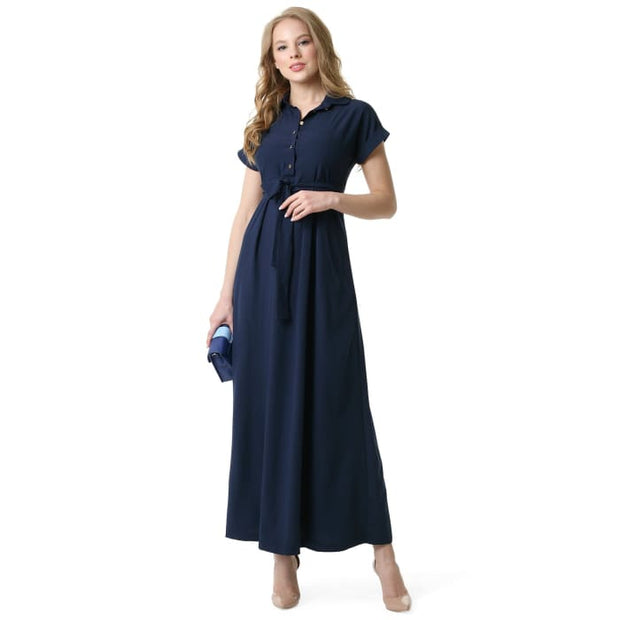 Alamani Maternity and nursing dress in dark blue 2_Maternity