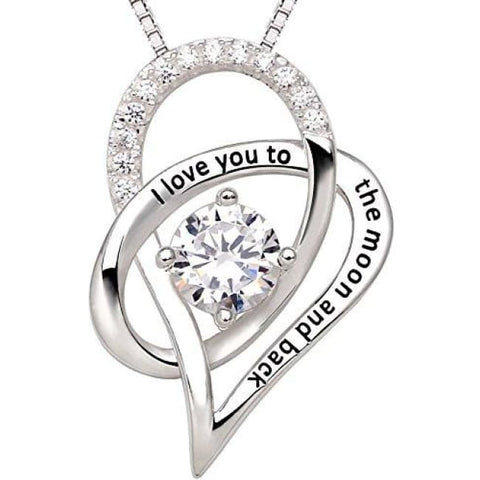 Alov Jewelry Sterling Silver I Love You To The Moon And Back Love Heart Pendant Necklace Fashion