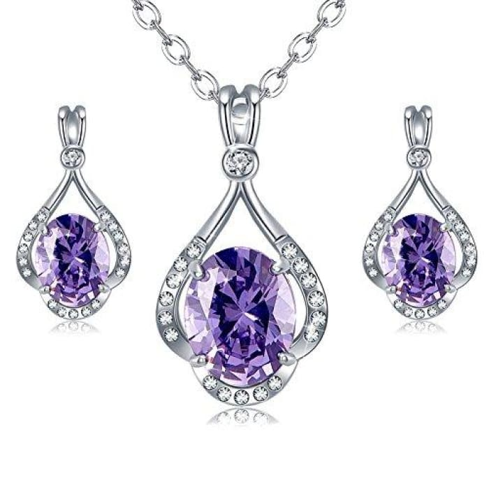 Amethyst Jewelry Sets Purple Pendant Necklace