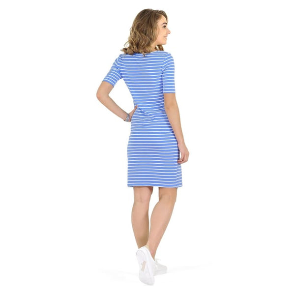 Anatolia Maternity and nursing dress ; color: denim/white Maternity