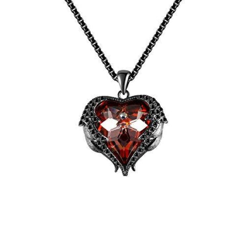 Angels Heart Of The Ocean With Wings And Zircons Made With Swarovski Crystals Pendant Necklace Pendants