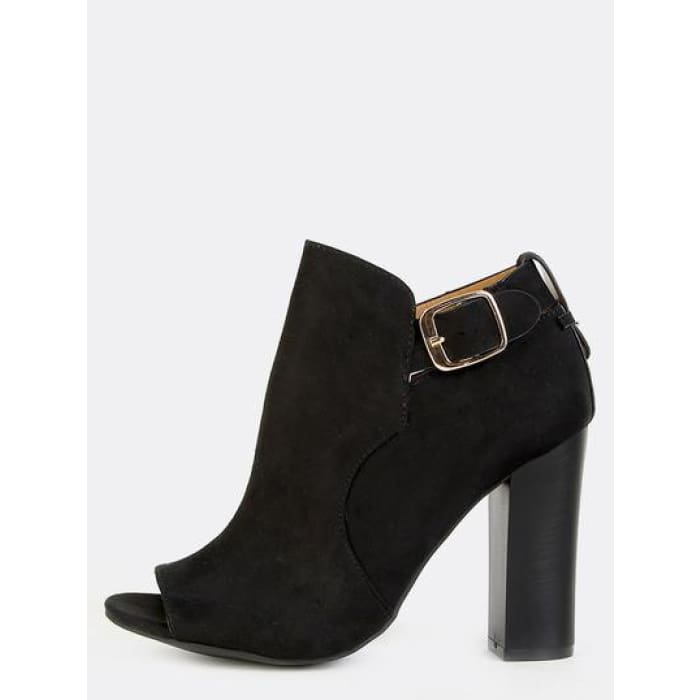 Ankle Strap Chunky Heel Booties Black Boots