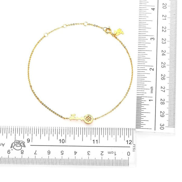 Antique Key Gold Plated Anklet Women - Jewelry - Bracelets