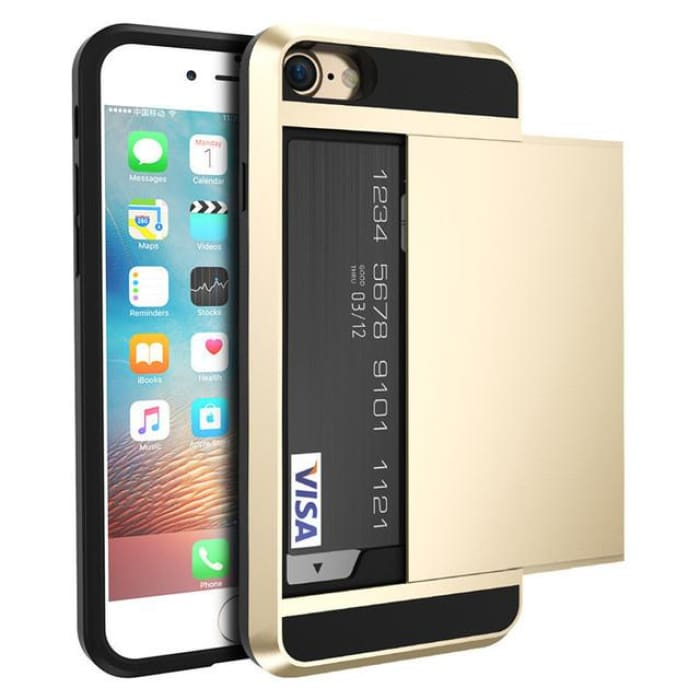 Armor Slide Case For Iphone 7 7 Plus Cover Hidden Card Holder Phone Cover For Iphone 6 6S Plus Case Coque Pc Tpu Hybrid Cover Gold / For