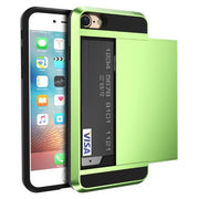 Armor Slide Case For Iphone 7 7 Plus Cover Hidden Card Holder Phone Cover For Iphone 6 6S Plus Case Coque Pc Tpu Hybrid Cover Green / For