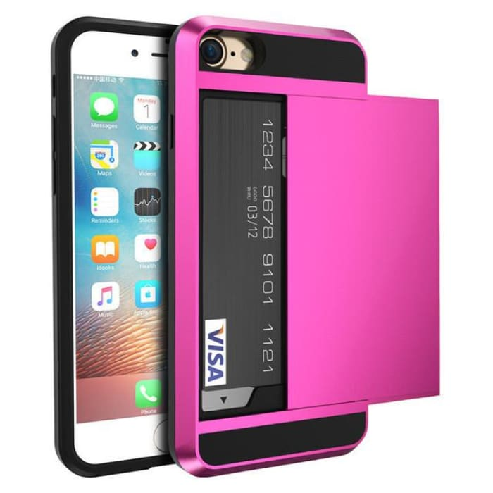 Armor Slide Case For Iphone 7 7 Plus Cover Hidden Card Holder Phone Cover For Iphone 6 6S Plus Case Coque Pc Tpu Hybrid Cover Hot Pink / For