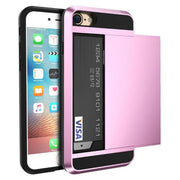 Armor Slide Case For Iphone 7 7 Plus Cover Hidden Card Holder Phone Cover For Iphone 6 6S Plus Case Coque Pc Tpu Hybrid Cover Pink / For