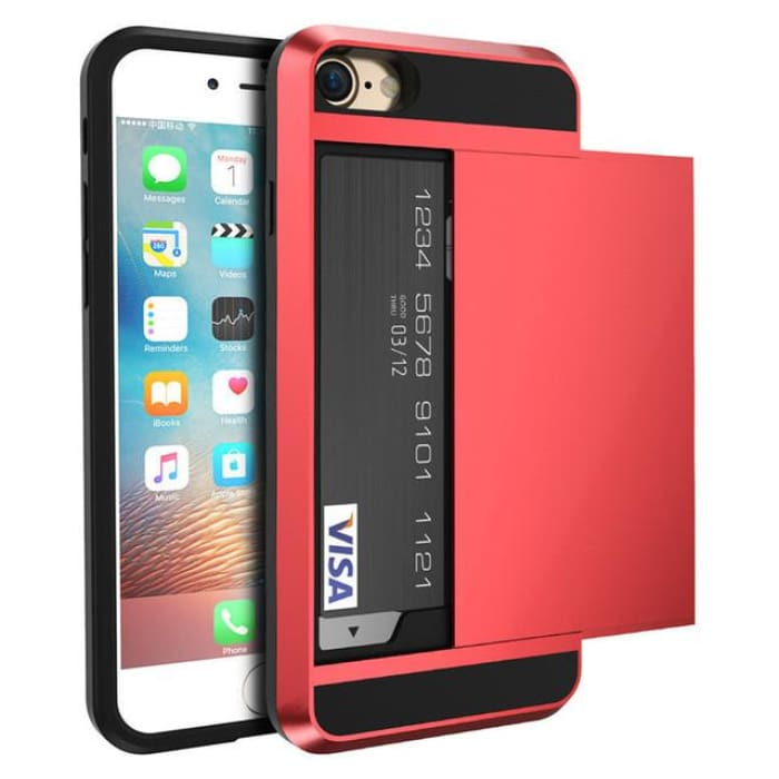 Armor Slide Case For Iphone 7 7 Plus Cover Hidden Card Holder Phone Cover For Iphone 6 6S Plus Case Coque Pc Tpu Hybrid Cover Red / For