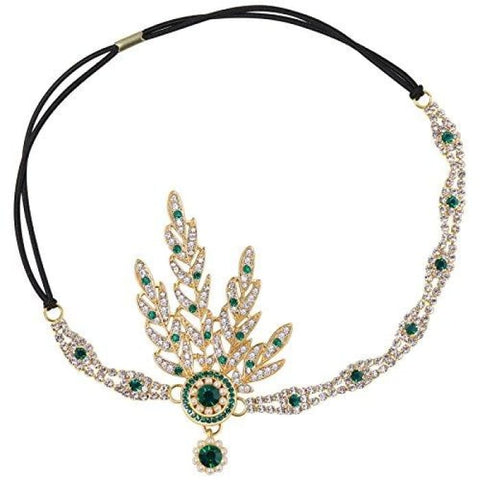 Art Deco 1920S Flapper Great Gatsby Inspired Leaf Medallion Pearl Headpiece Headband (Green) Headbands