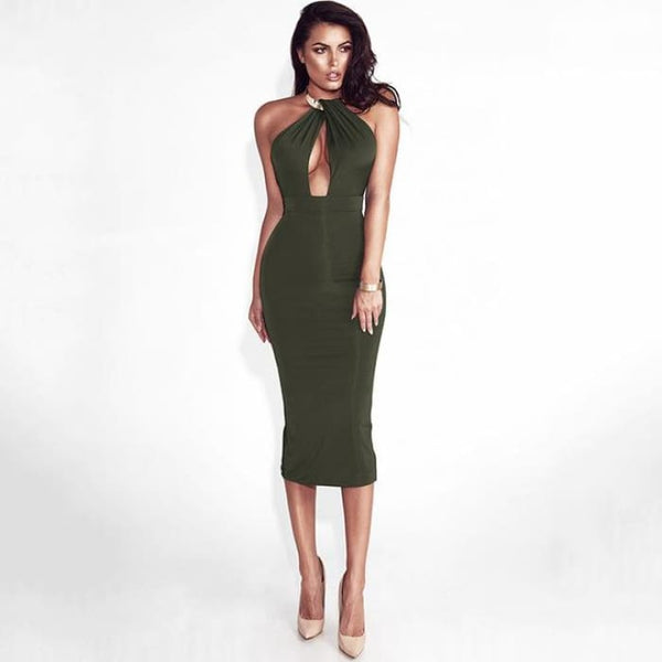Articat Hollow Out Party Bodycon Womens Bandage Dress Verde Exército / P Dresses