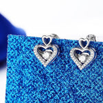 Austrian Crystal Heart Pendant Necklace Crystal Stud Earrings Stud Earrings White Gold Plated Jewelry Sets Jewelery Sets