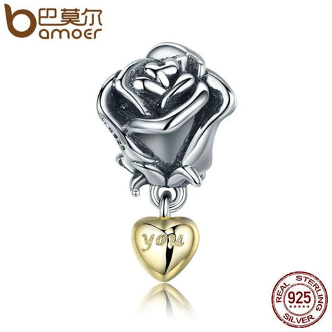 Authentic 925 Sterling Silver Rose Flower Charm Charms
