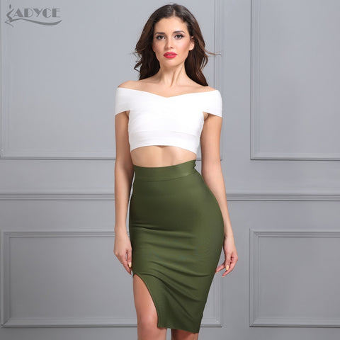 ADYCE 2019 Sexy Women Bodycon Party Bandage Skirt  Khaki Green Black Blue Red Yellow Pink Skirts Sexy Lady Cocktail Party Skirt