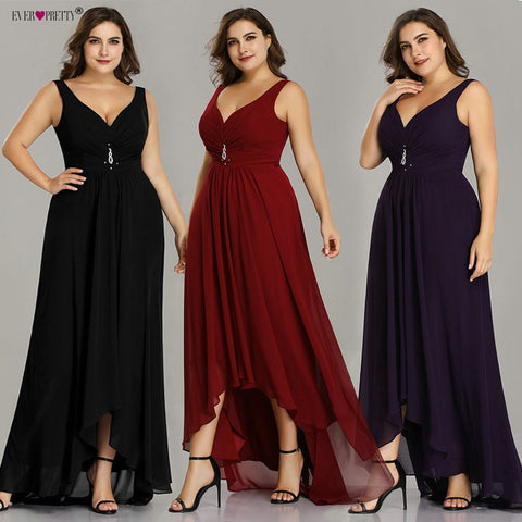 Plus Size Prom Dresses Long 2019 Elegant Burgundy A line Sleeveless Crystal High Low Ever Pretty Special Occasion Party Gowns