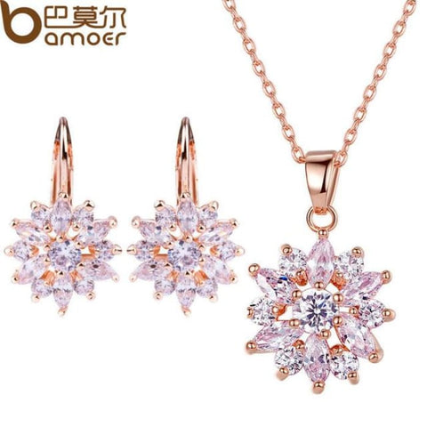 Bamoer Luxury Gold Color Flower Jewelry Sets For Women Wedding With Colorful Aaa Cubic Zircon Gold Jewelry Sets