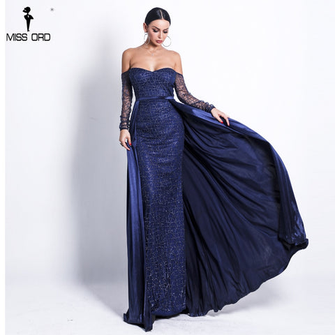 Missord 2019 Women Sexy Backless Cloak Two Pcs Dress Female Solid Color Elegant Glitter Reflective prom Dress FT18696