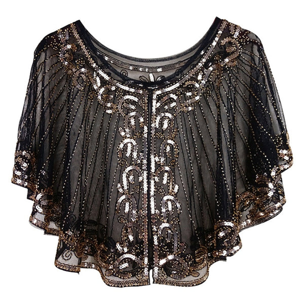 Vintage 1920s Black Mesh & Gold Sequin Beaded Unique Flapper Capelet