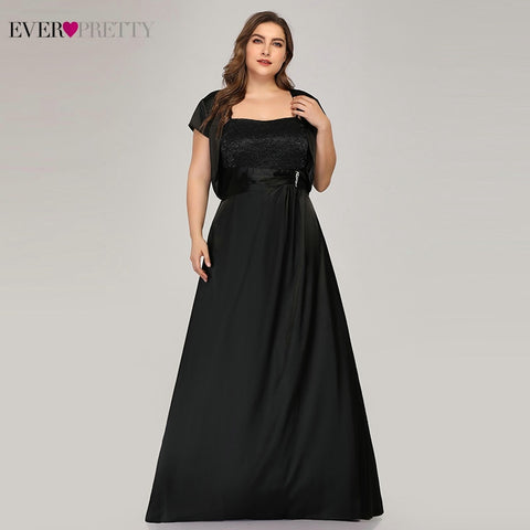 Plus Size Black Evening Dresses Long Ever Pretty Square Collar A Line With Jacket Elegant Satin Formal Party Gown Robe De Soiree