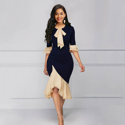 Vintage Elegant Office Lady Women Dress