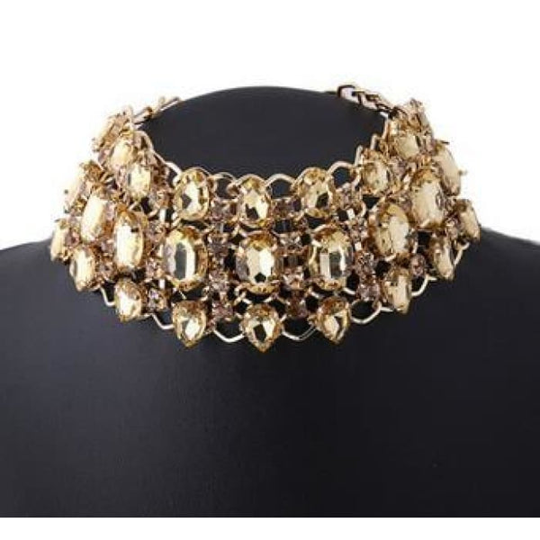 Big Rhinestone Choker Necklace 2017 Bib Statement Necklace Crystal Luxury Chunky Collar Maxi Jewelry Gold Color