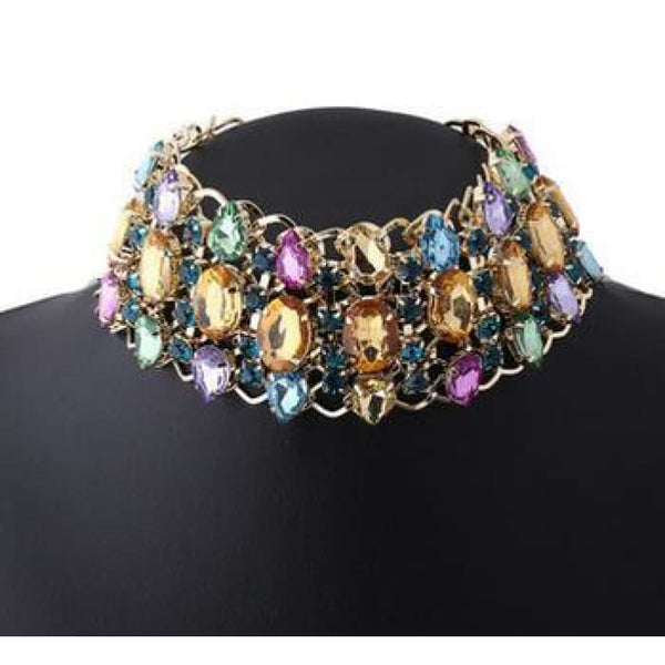 Big Rhinestone Choker Necklace 2017 Bib Statement Necklace Crystal Luxury Chunky Collar Maxi Jewelry Multicolor