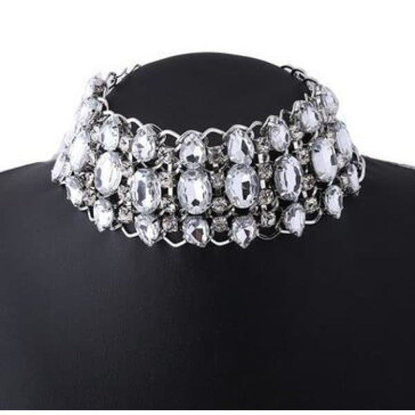 Big Rhinestone Choker Necklace 2017 Bib Statement Necklace Crystal Luxury Chunky Collar Maxi Jewelry Silver Color