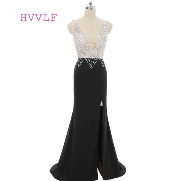 Black 2018 Prom Dresses Mermaid V-Neck Beaded Crystals Slit Sexy Robe Same As The Photo / 2 Prom Dresses