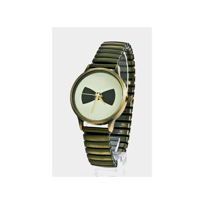 Black & Gold Brushed Stretch Bow Watch Women - Accessories - Watches