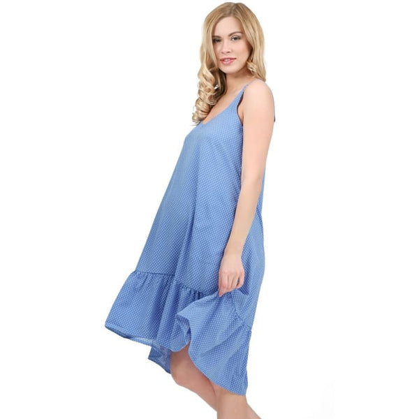 Blue Belle maternity Sundress ; color: cornflower blue / peas 2_Maternity