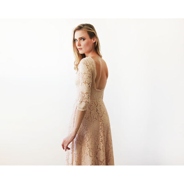 Blush Pink Floral Lace Maxi With Open Back 1118 Women - Apparel - Bridal