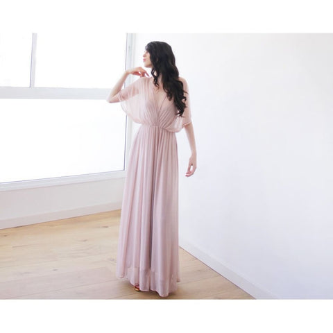Blush Pink Sheer Chiffon Bat-Wing Maxi Dress 1027 Women - Apparel - Bridal