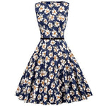 Boatneck Sleeveless Vintage Tea Dress Belt Casual