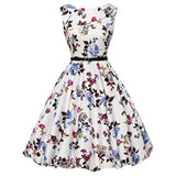 Boatneck Sleeveless Vintage Tea Dress Belt X-Small / Floral-22 Casual
