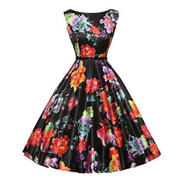 012ed265b94800 ... Boatneck Sleeveless Vintage Tea Dress With Belt 1X Plus   Floral-14 ...