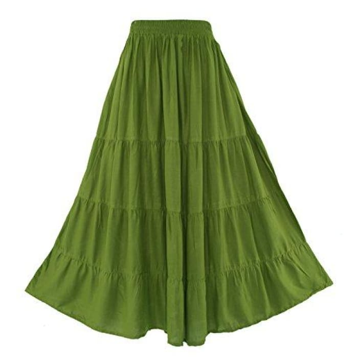 Boho Gypsy Long Maxi Tiered Skirt X-Large Plus / Avocado Green