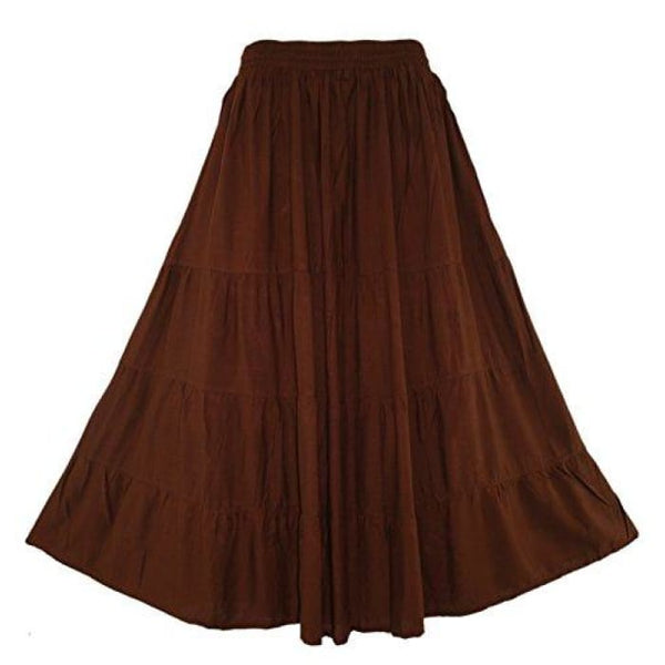 Boho Gypsy Long Maxi Tiered Skirt X-Large Plus / Brown