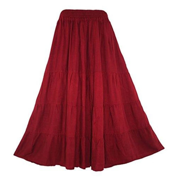 Boho Gypsy Long Maxi Tiered Skirt X-Large Plus / Maroon
