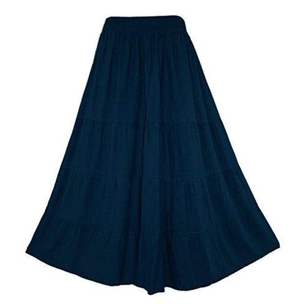 Boho Gypsy Long Maxi Tiered Skirt X-Large Plus / Navy Blue
